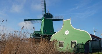 Windmills ner Amsterdam on Zaanse Schans.