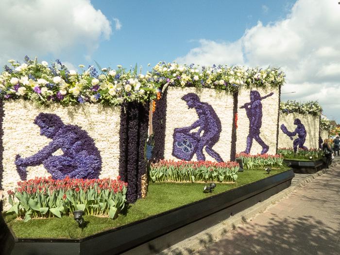 Endless row of floats on flower parade through the Dutch bulb fields evolution
