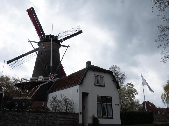 Working windmill in IJsselstein: millers home beside the mill.