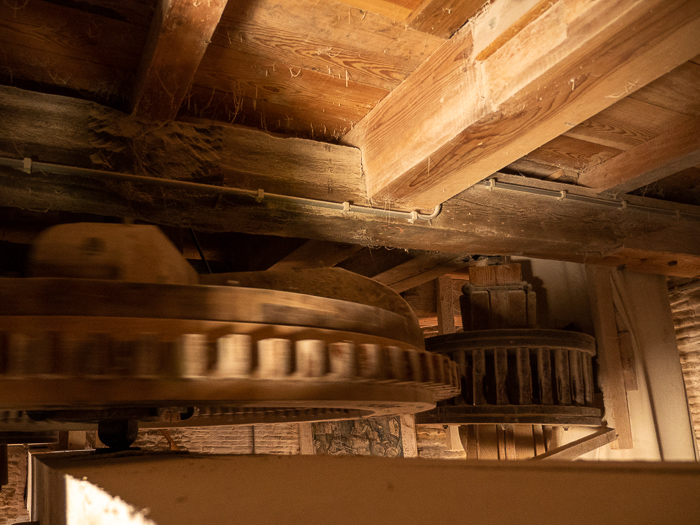 Working windmill in IJsselstein: turning wheels inside the mill.