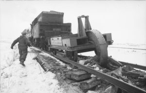 "Russland, Einsatz des ""Schienenwolf"". WW@. German troups destroy Railroads as they withdraw."