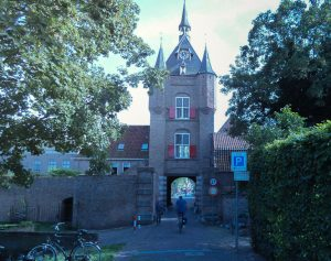 Cycling holidays in Holland crossing the major rivers. City gate Vianen